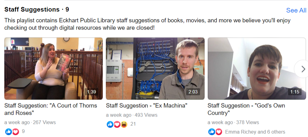 Screenshot of Staff Suggestions video series on Facebook