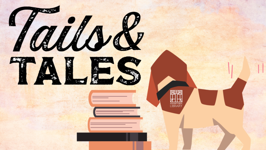Tails and Tales Graphic with Dog and Books
