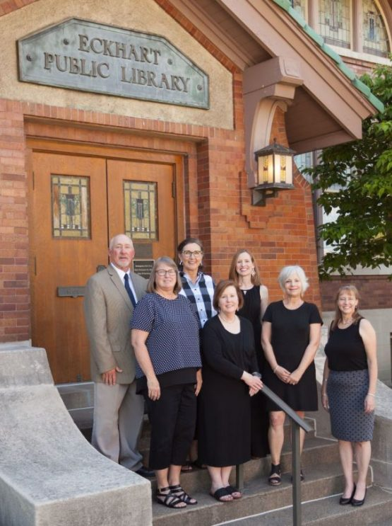 Board members of the Eckhart Public Library Foundation. In front, from left: Kathie Kock, Janelle Graber, Sharon Smith, and Carolyn Foley. Back row, from left: Robert Tracey, Vicki James, and Angela Mapes Turner. Not photographed: W. Erik Weber. Photo from KPC News